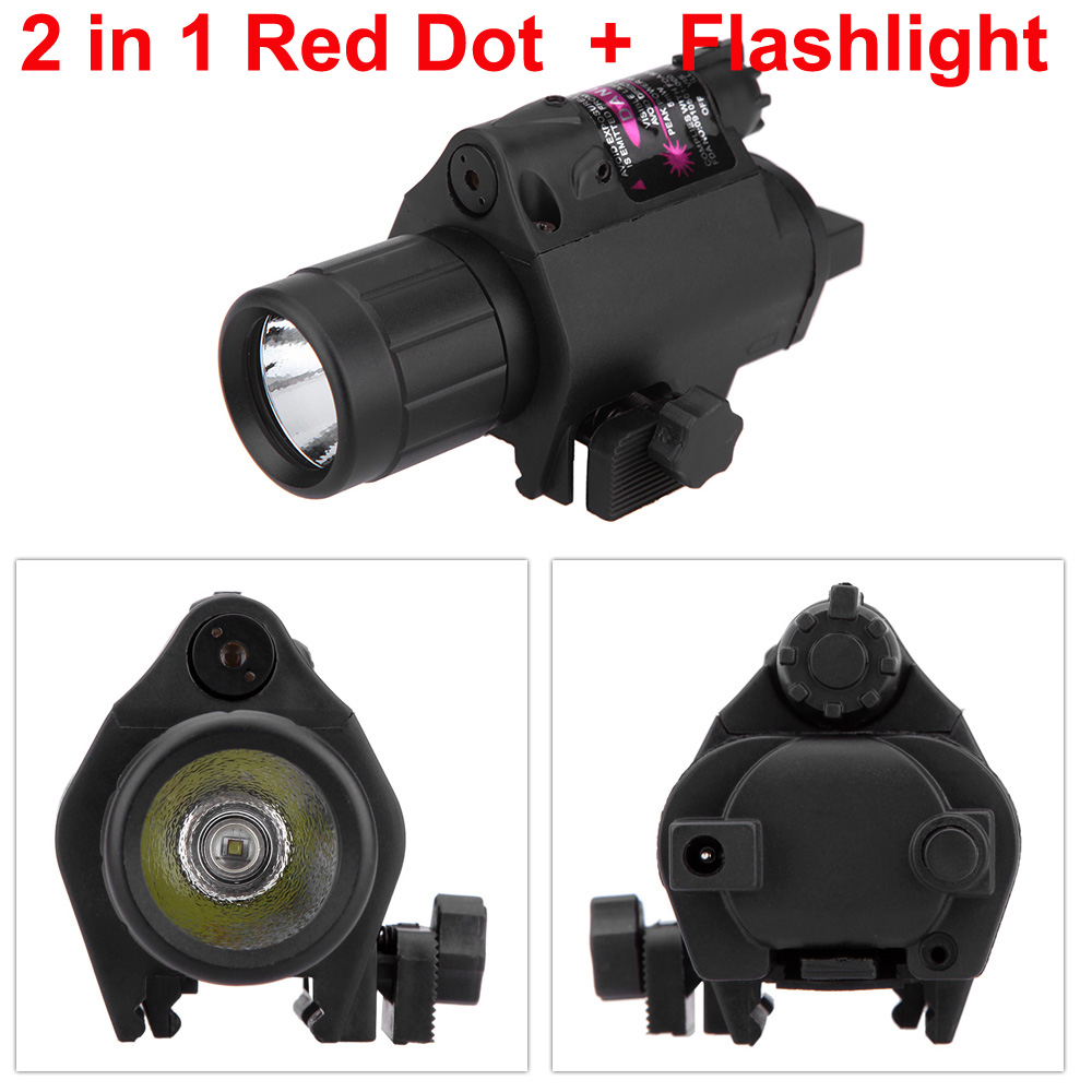 2 in 1 Red Dot Sight Lazer Tüfek Kapsam Tüfek + Taktik El Feneri Torch Caza Avcılık Kapsamları Optik Sight Riflescopes