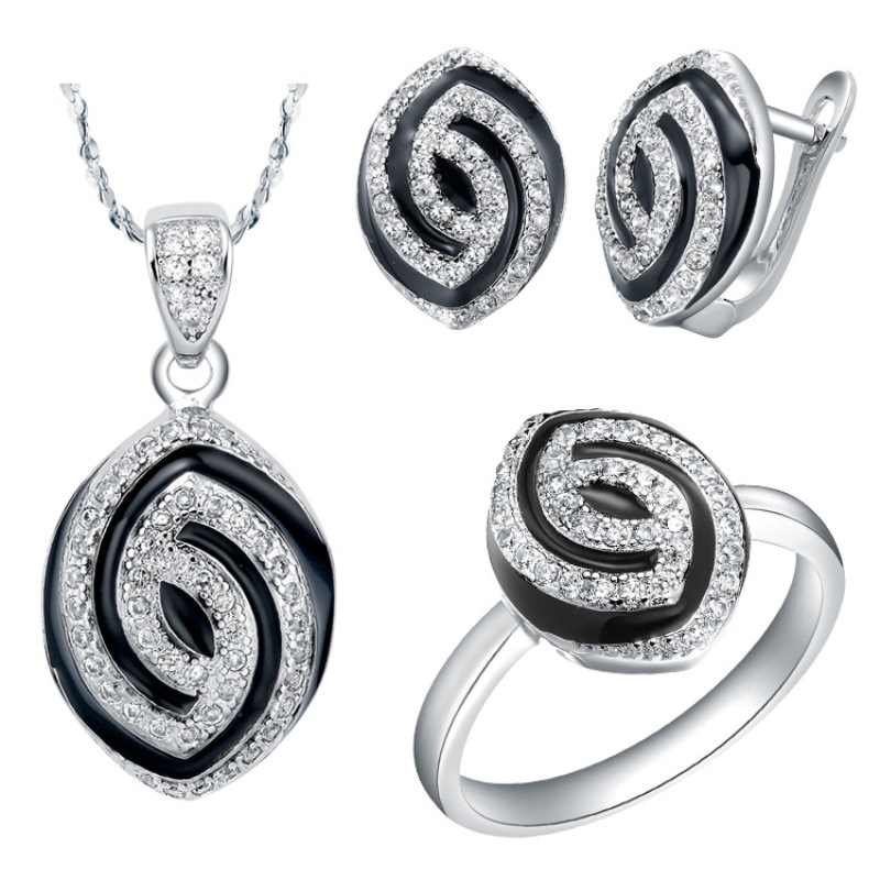 925 Sterling Silver Wedding Bridal Jewelry Sets Women Fashion Set With AAA ZirconRound Shape Necklace and Earring Ring