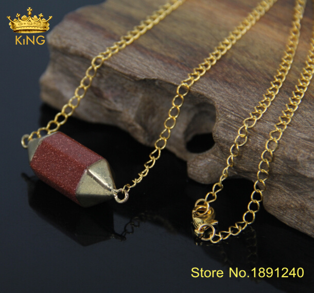 Women&39;s Druzy Crystal Goldstone Pendant Necklace Multicolor Plated Gold Chain Connector Natural Stone Statement Necklace CN011