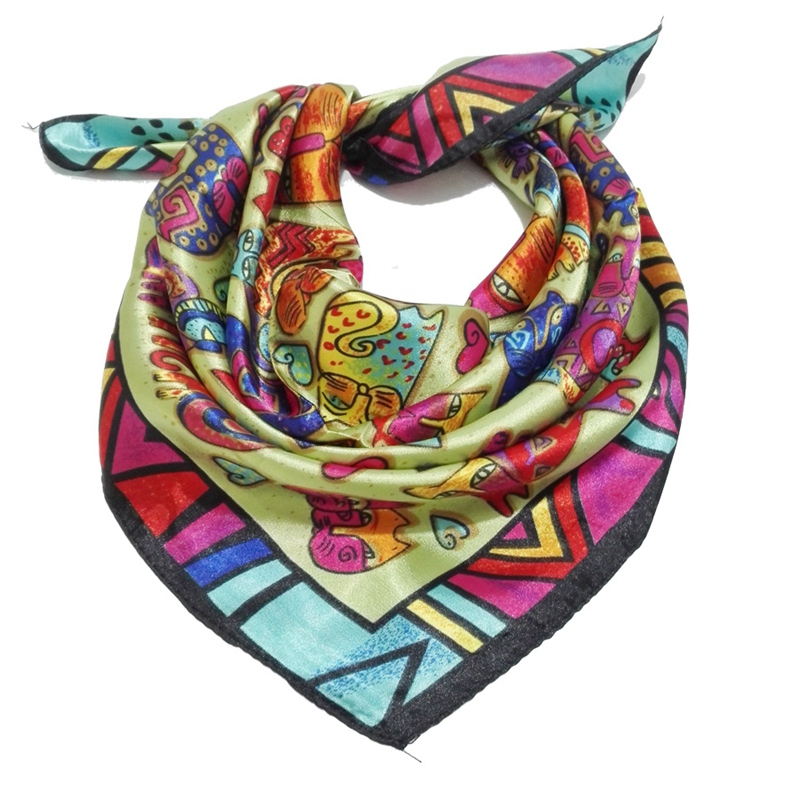 58CMX58CM Big Size Silk Square Scarf Women Fashion Brand High Quality Imitated Silk Stain Scarves Shawl Hijab Cartoon Animal