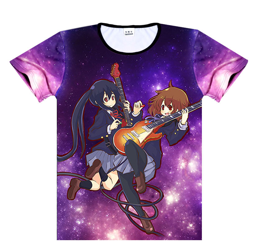 K-ON Baskı T-Shirt Japon Anime Kon Baskı Beyaz T Shirt Mens Moda Kısa tshirt En Tees