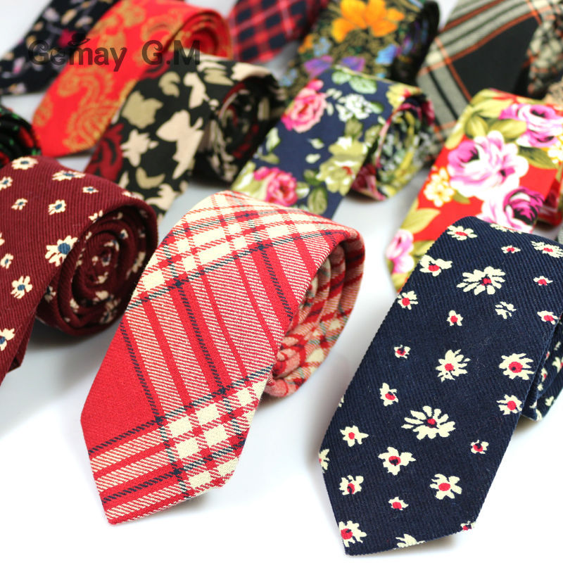 Newest Floral Cotton Ties for Men 5.5 width Narrow Neckties High Quality Adult Slim Neck Tie Party Accessories Cravat