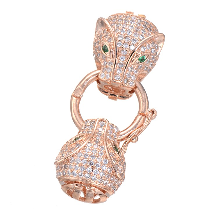 3 Colors High Quality Fashion Animal Leopard Head Micro Pave Zircon Copper Clasps Accessories CZ Jewelry Fitting