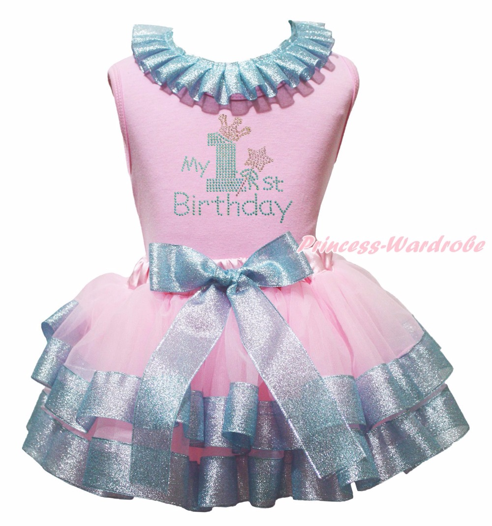 Light Pink Cotton Lacing Shirt Silver Pink Petal Skirt Girl Outfit Set Dress My 1st-6th Birthday Costume Nb-8y LKPO0023