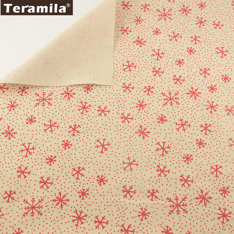 Cotton Red Snowflake Designs Linen Fabric Sewing Material Tissu TERAMILA Tablecloth Pillow Bag Curtain Cushion Pillow Zakka CM