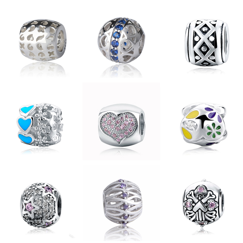 New 925 Silver Beads hollow flower love heart stars Charms with CZ and enamel Fit authentic Pandora Bracelet DIY Jewelry gifts